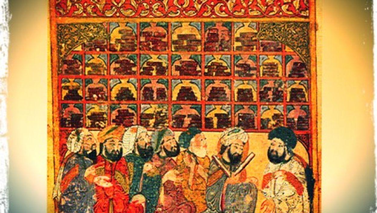 13th century manuscript depicting scholars at an Abbasid library