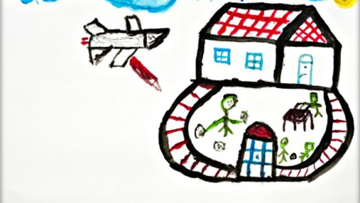 A 10-year-old Syrian boy's drawing showing life in his war-torn country.