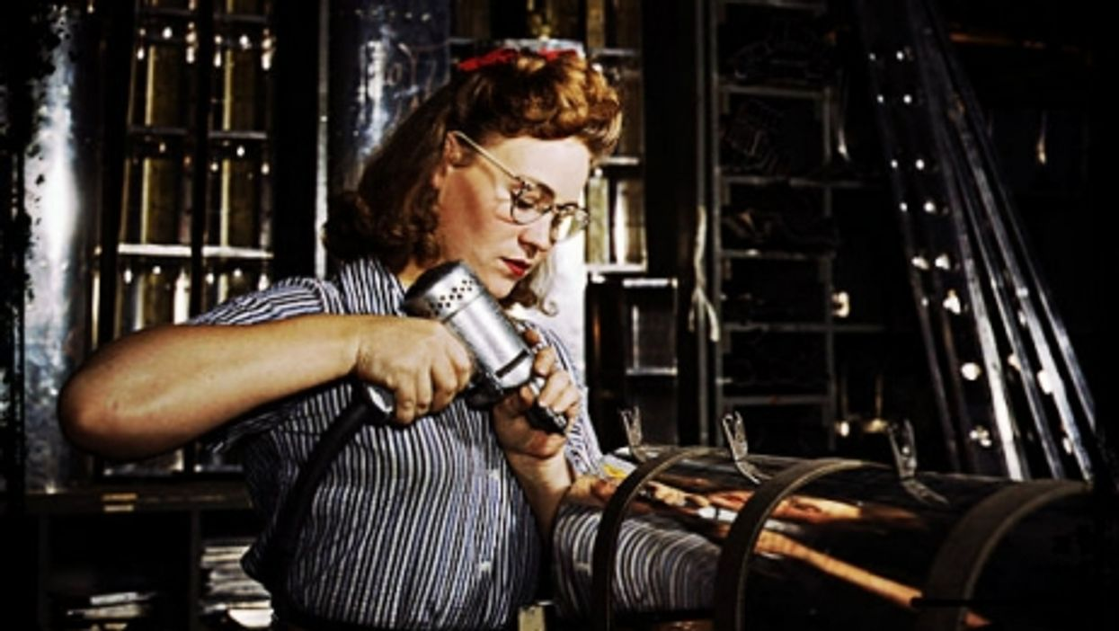 A 1942 photo of a worker at North American Aviation plant in California.