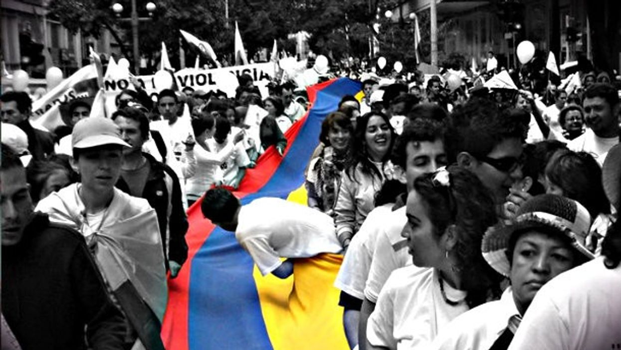 A 2008 protest in Colombia calling for the release of FARC kidnapping victims