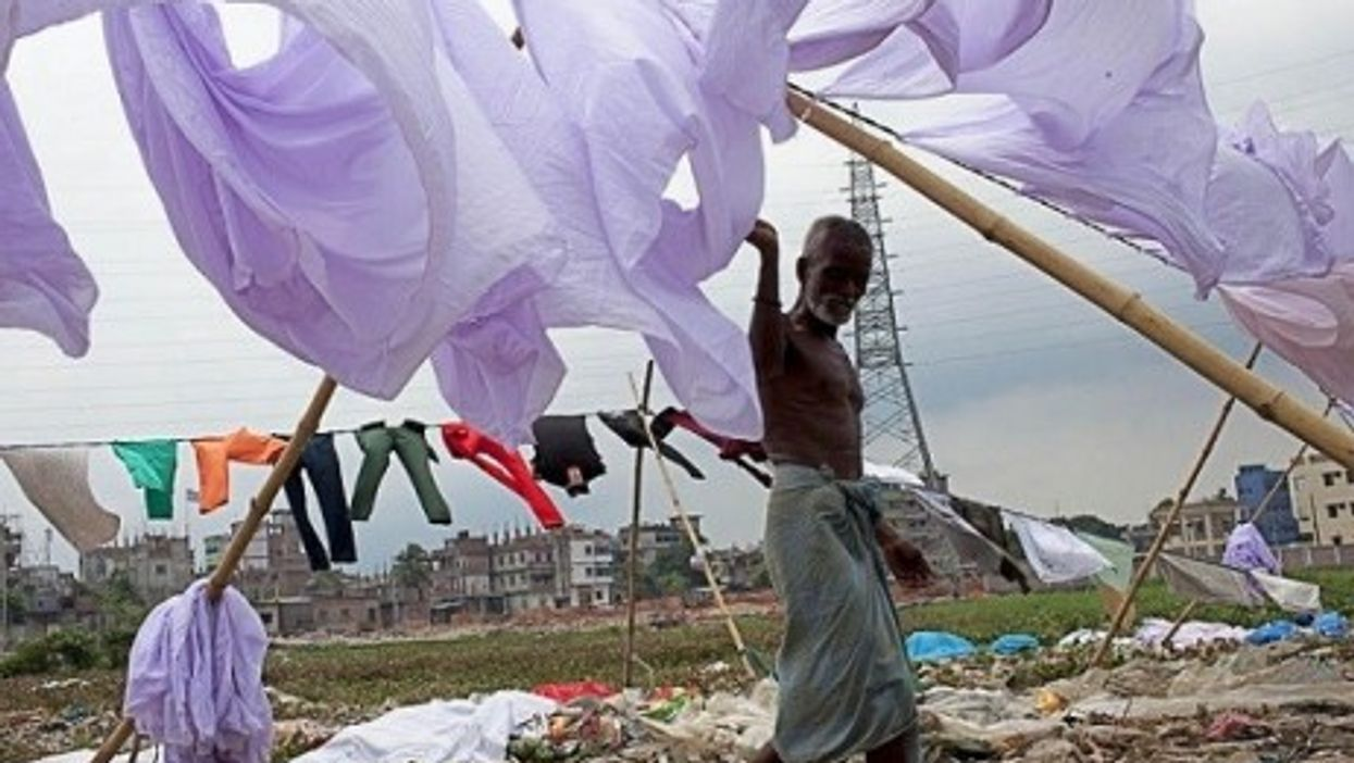 A Bangladeshi laundry worker during a nationwide strike by the Islamist party Jamaat-e-Islami.