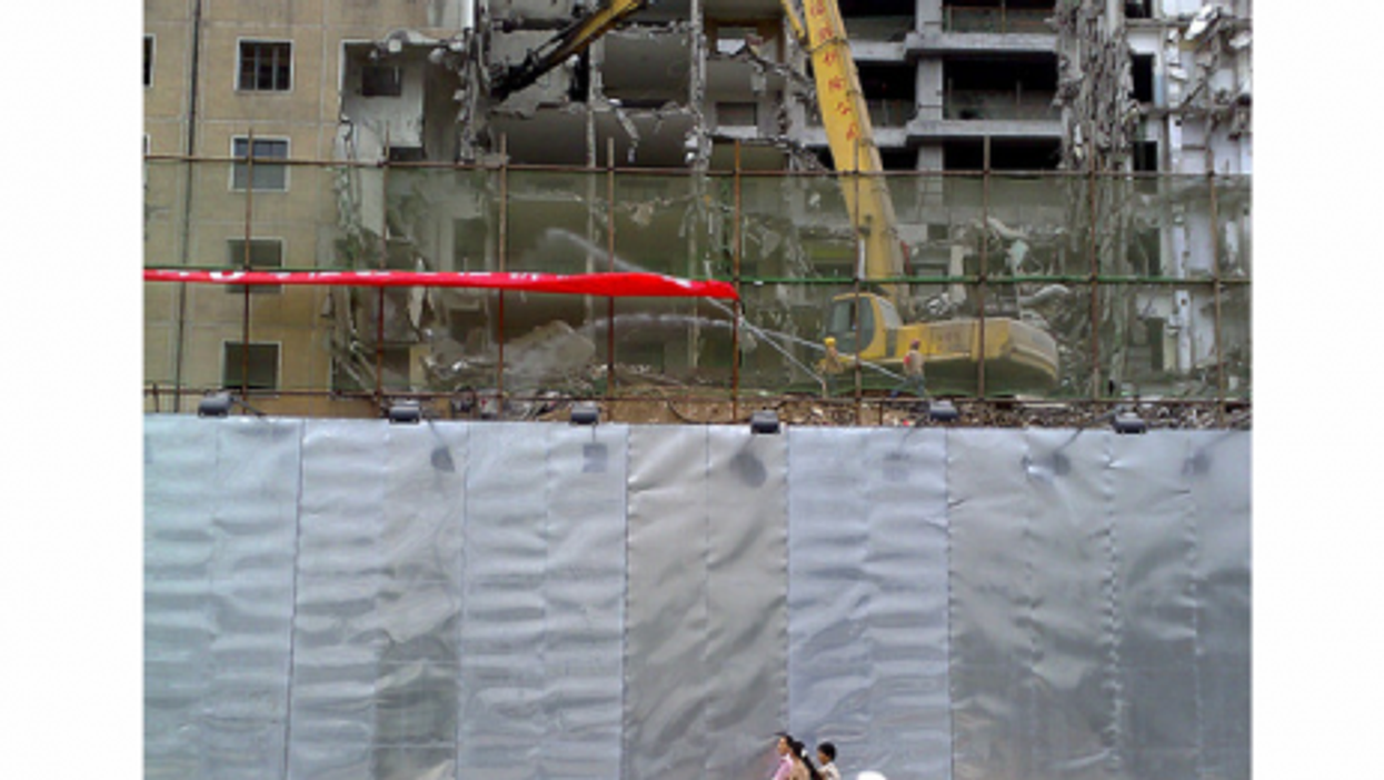 A Beijing apartment building being torn down (stan)