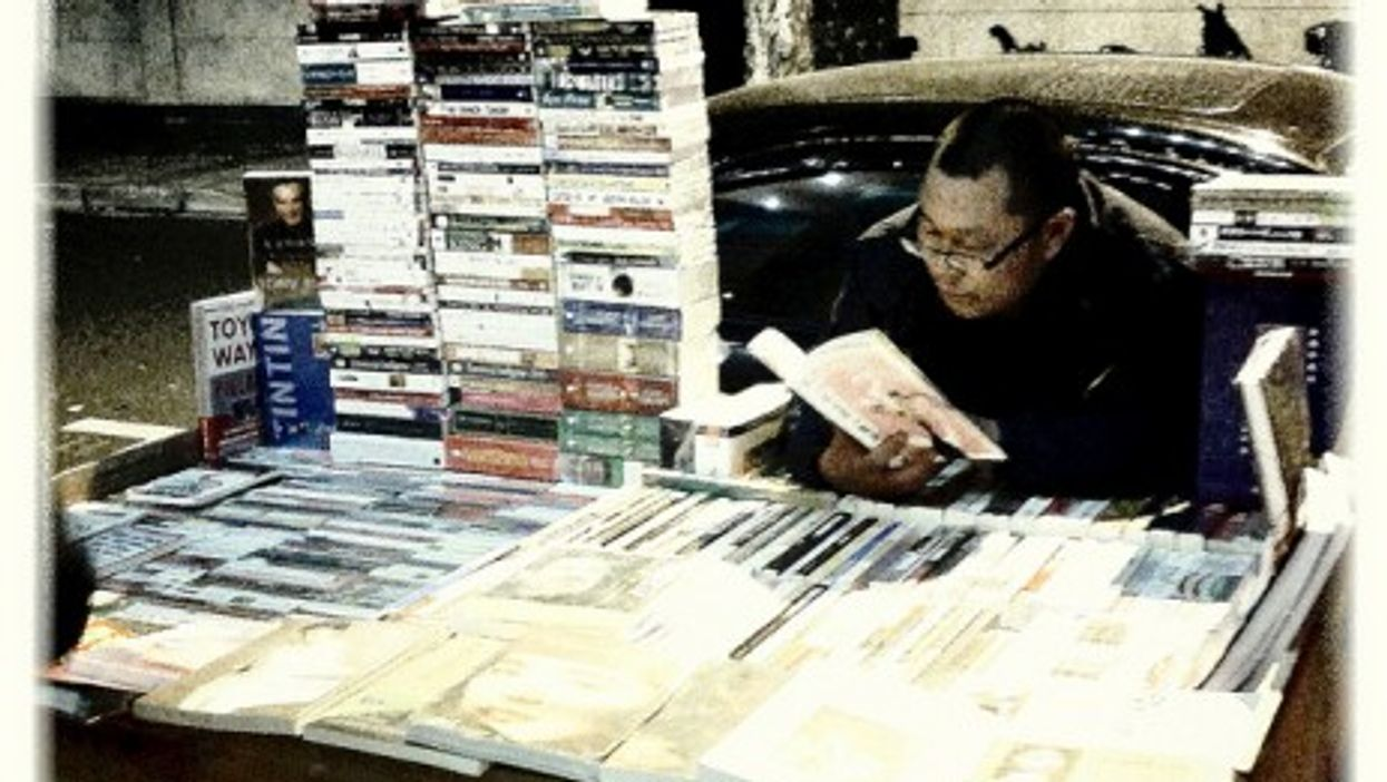 A bookstall holder in China