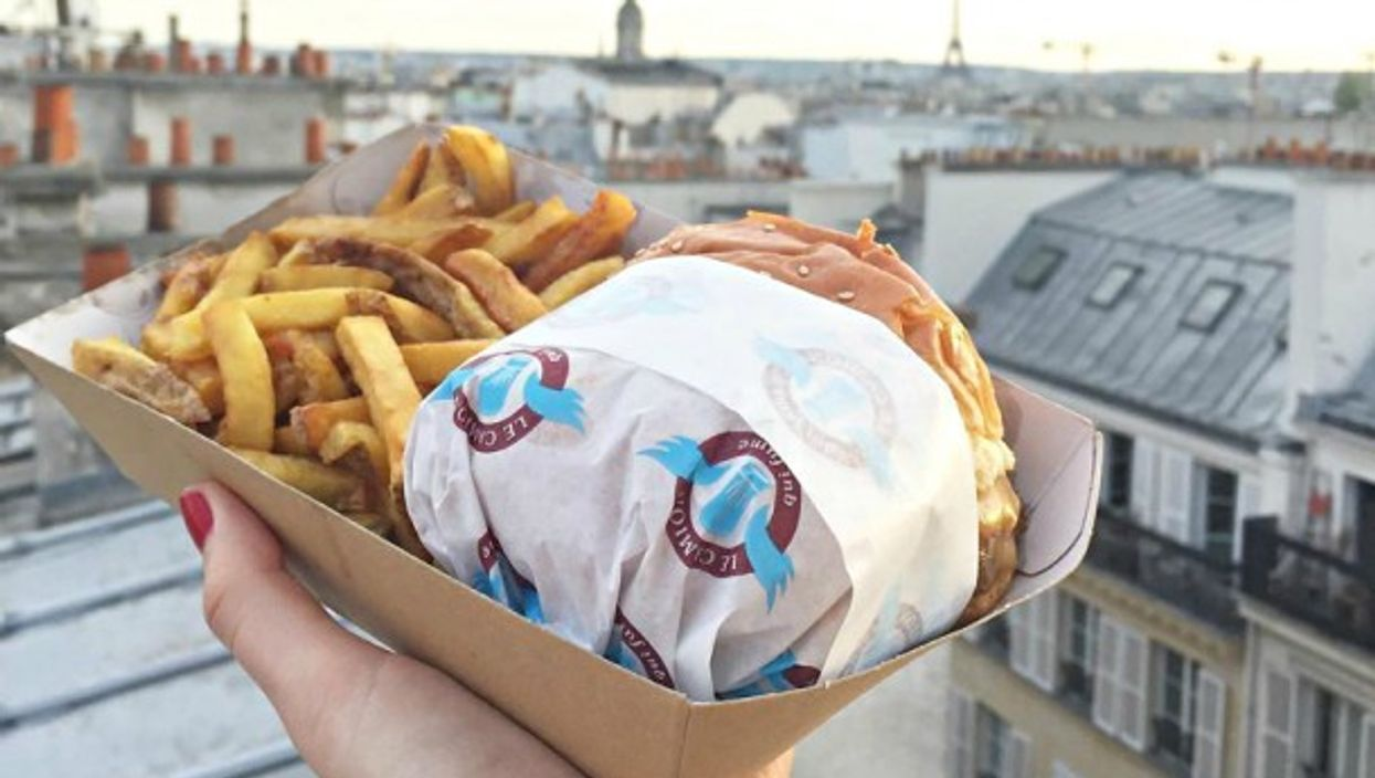A burger and frites from Le Camion Qui Fume in Paris