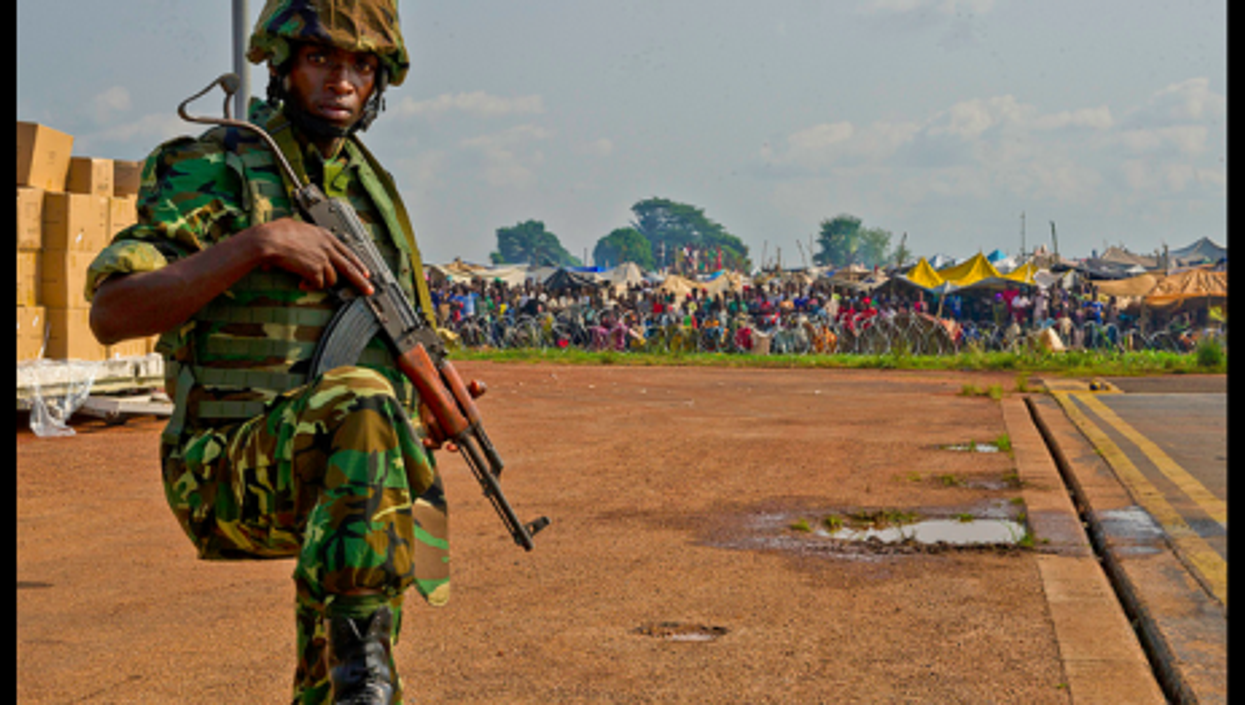 A Burundi soldier on the edge of Bangui airport