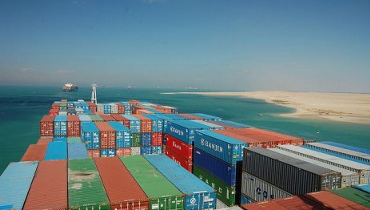 A cargo ship on the Suez Canal.