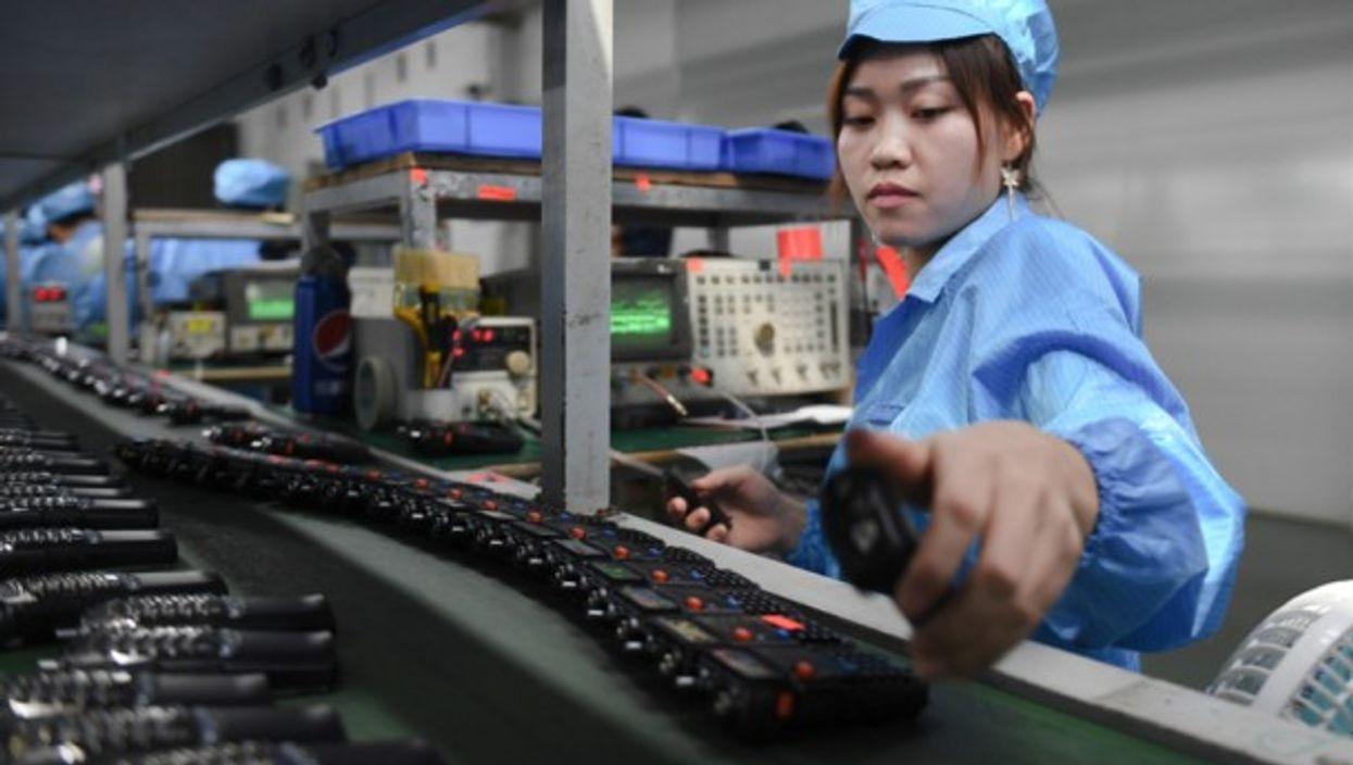 A Chinese worker at an electronics company