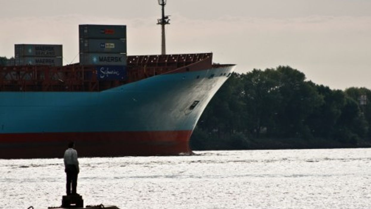 A container ship leaving Hamburg