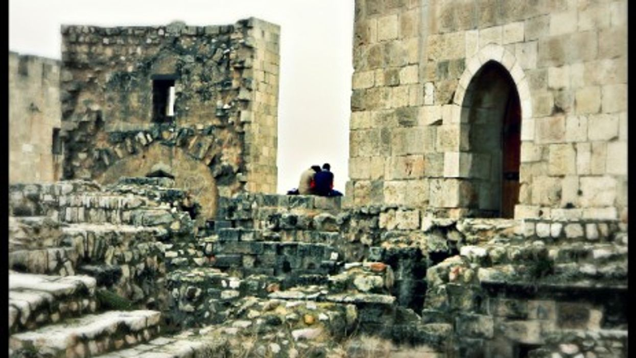 A couple at the Citadel of Aleppo.