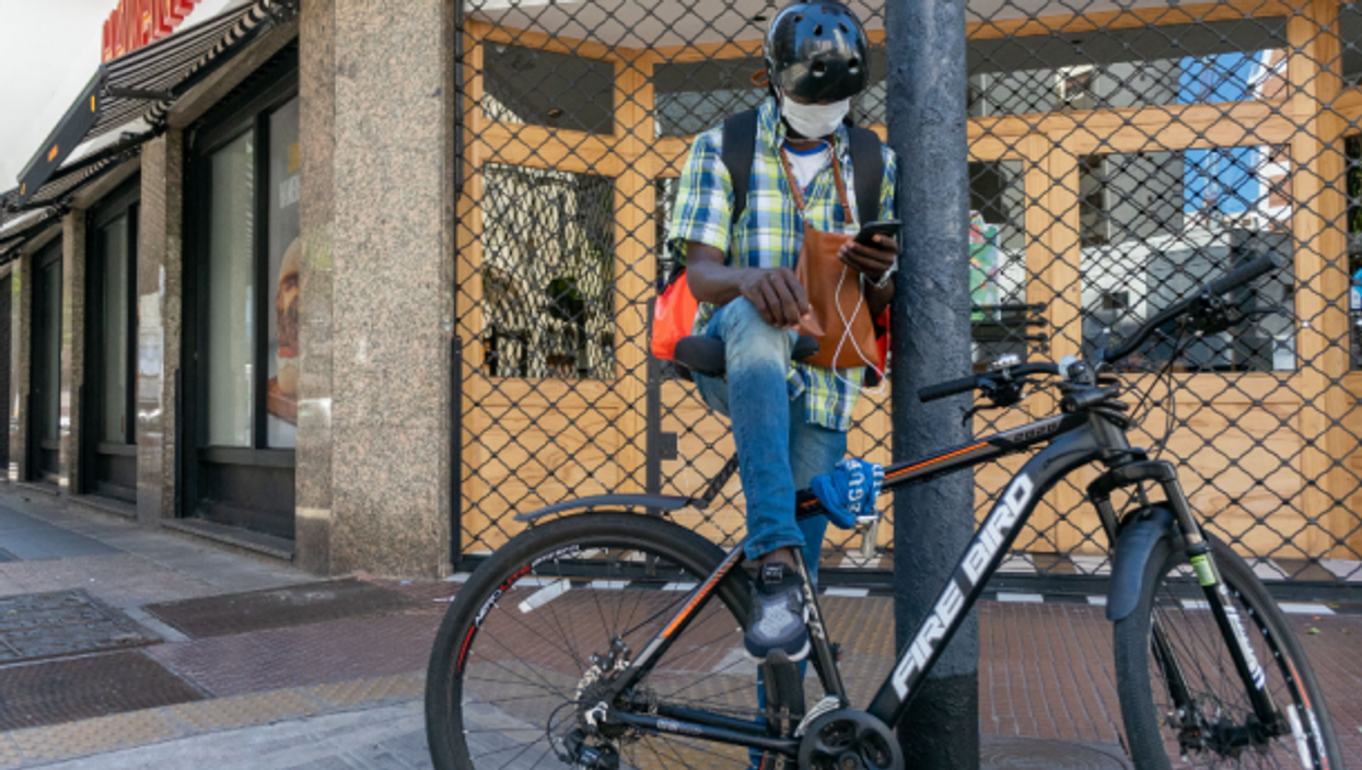 A delivery worker in Buenos Aires, Argentina
