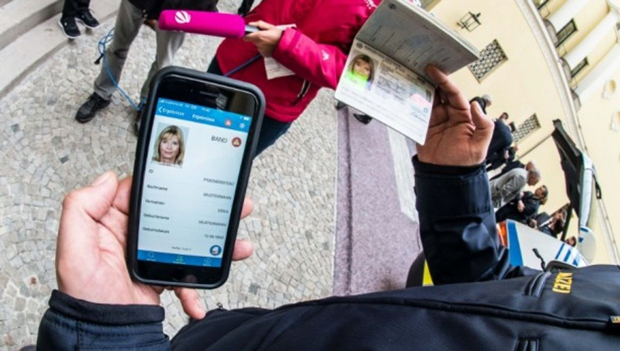 A demonstration of the use of smartphones to verify passports in Munich in May 2018