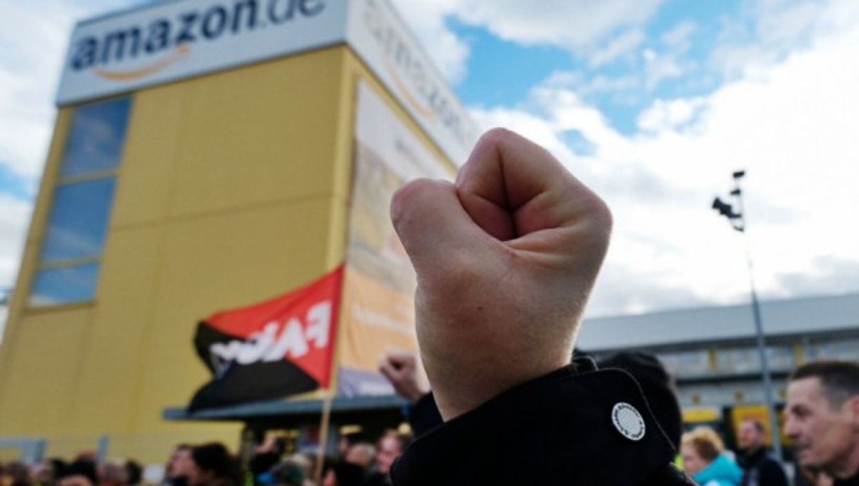 A demonstration on Black Friday in a local site of Amazon in Leipzig, Germany