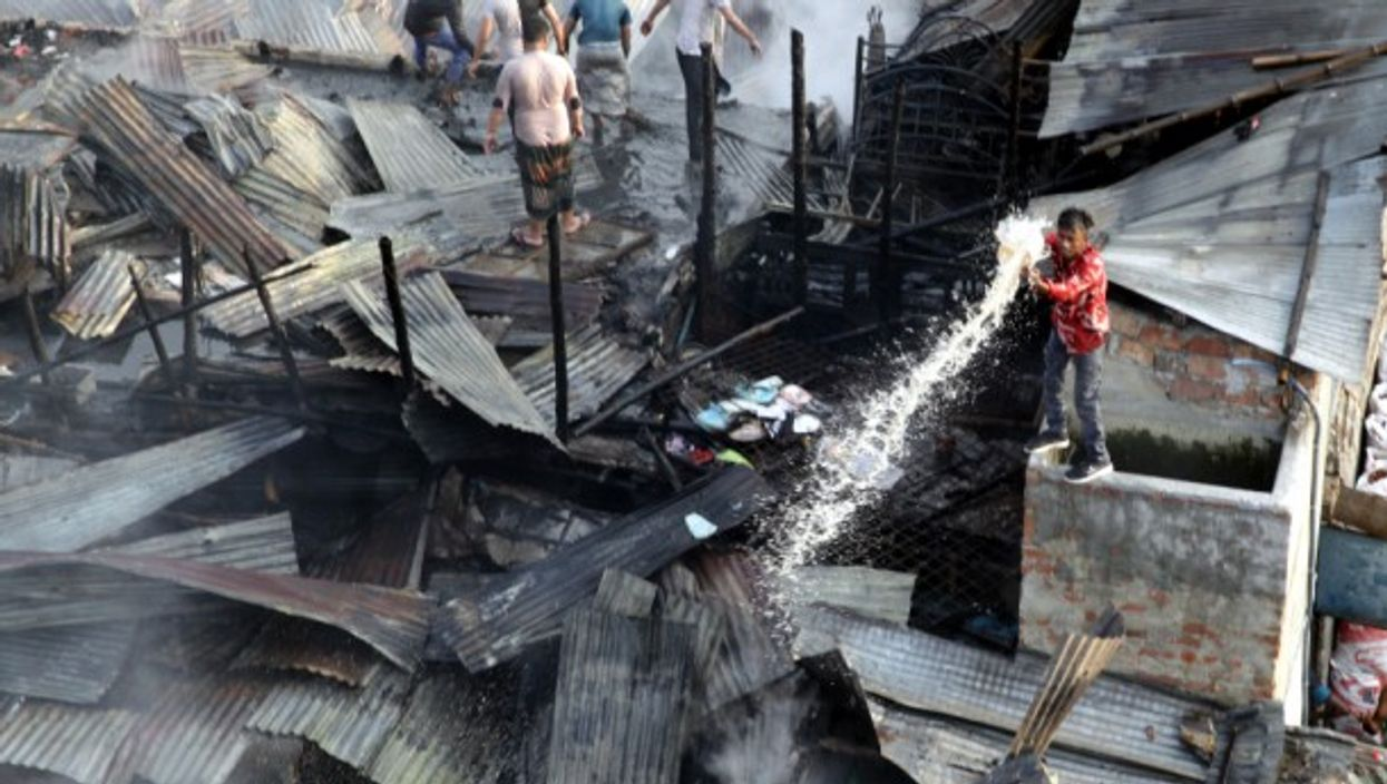A devastating fire has consumed nearly 150 shanties in a slum in Bangladesh's capital city Dhaka, but no casualties were reported.