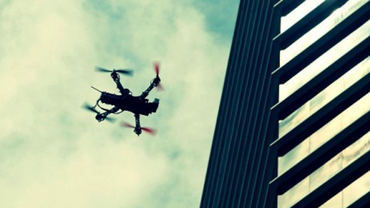 A drone flies over protests in Mexico City on Sep. 1, 2013