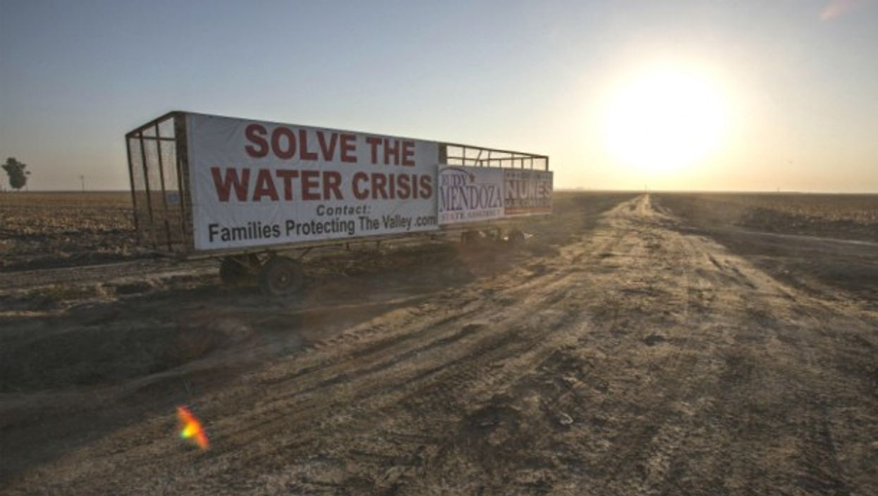 A drought alert sign in Fresno, California on Sept. 11, 2014