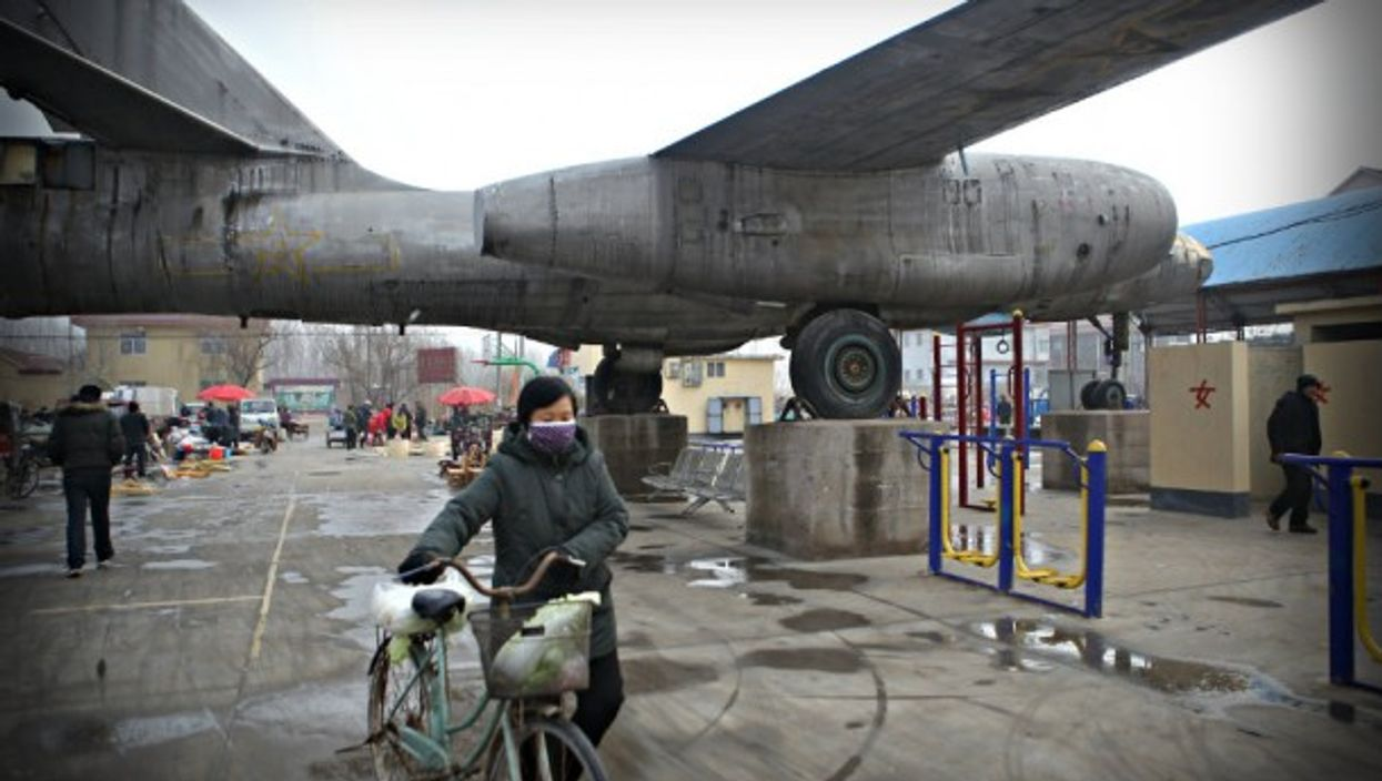 A fair under giant bombers in Binzhou in eastern China