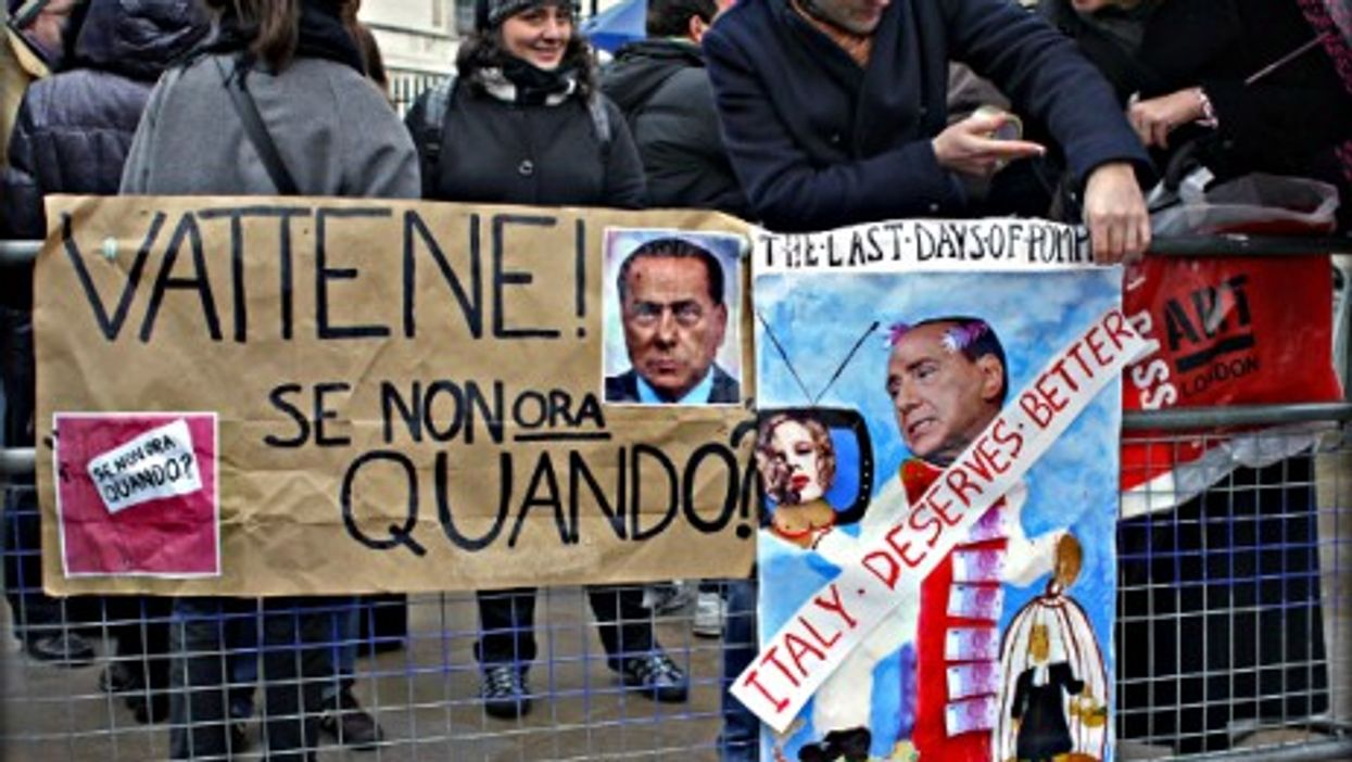 A February 2013 protest against Silvio Berlusconi in London