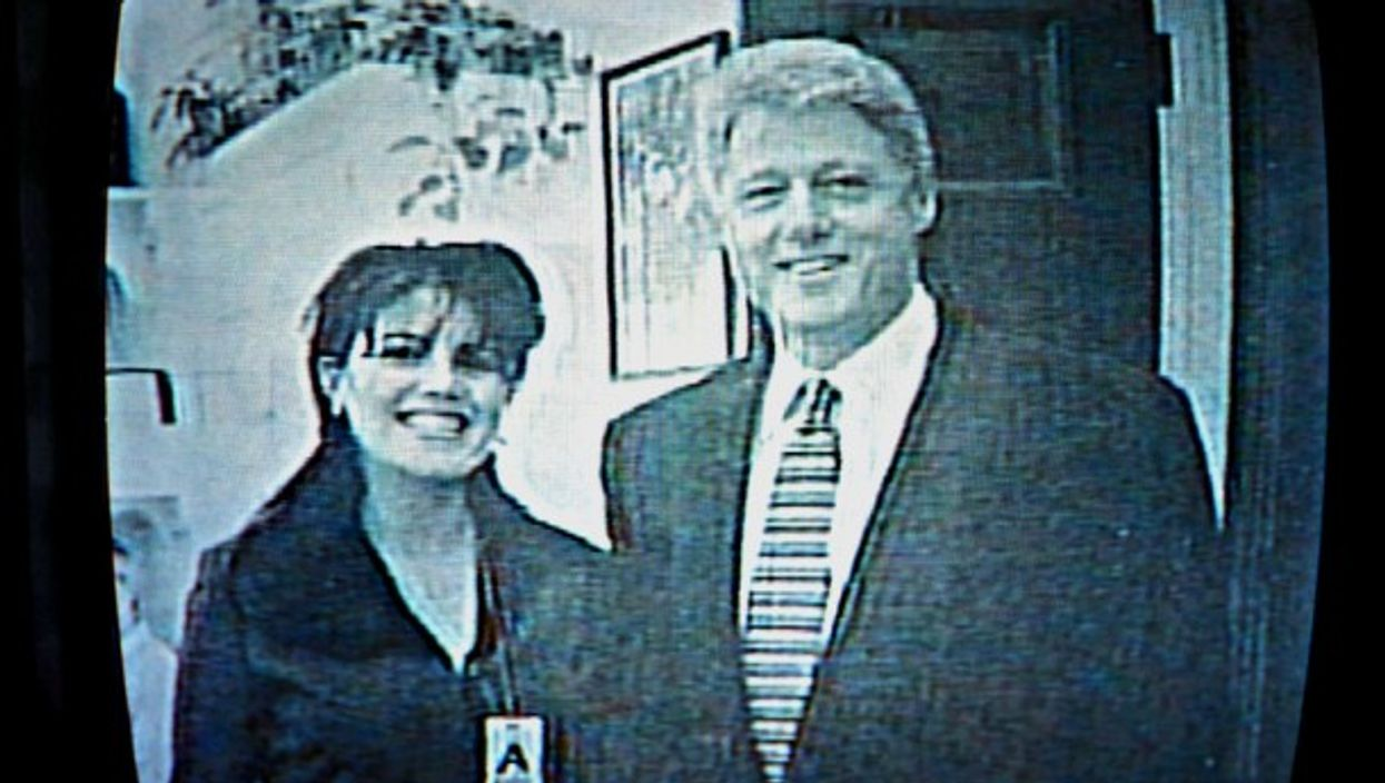 A file image of Monica Lewinsky and Bill Clinton