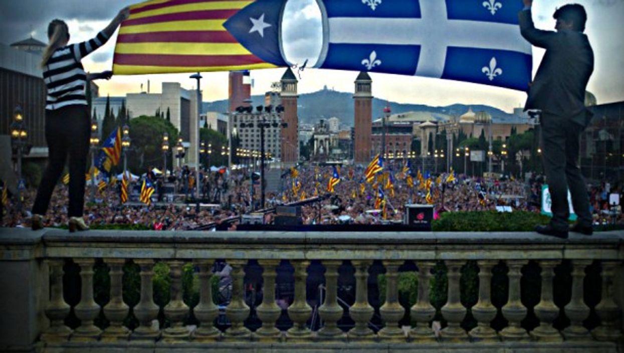 A file photo at a 2015 Catalan independence rally in Barcelona