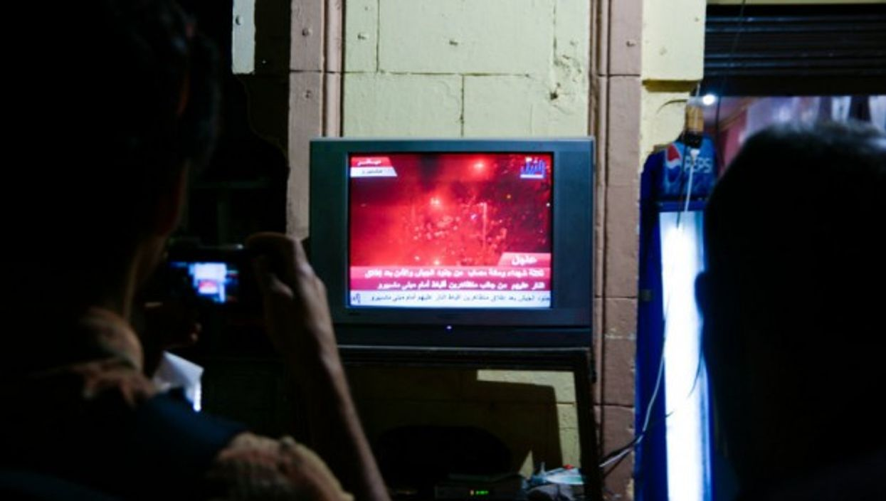A file photo of TV news coverage in Egypt