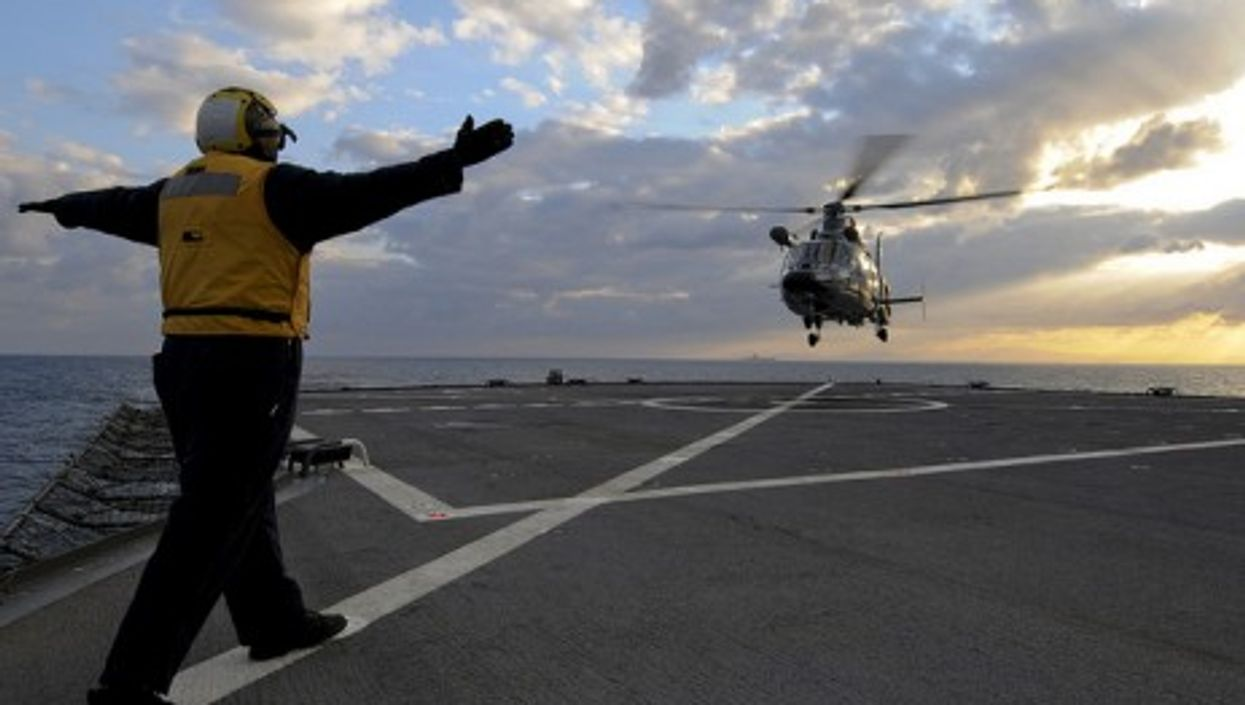 A French helicopter off the coast of Libya (US Navy)