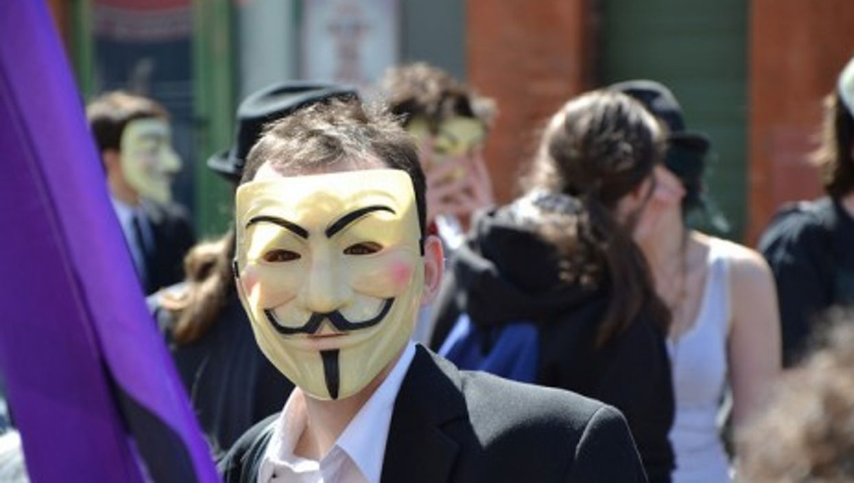A French Pirate Party member during a protest (tornad3)
