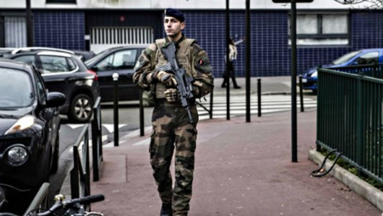 A French soldier on patrol in Paris in January
