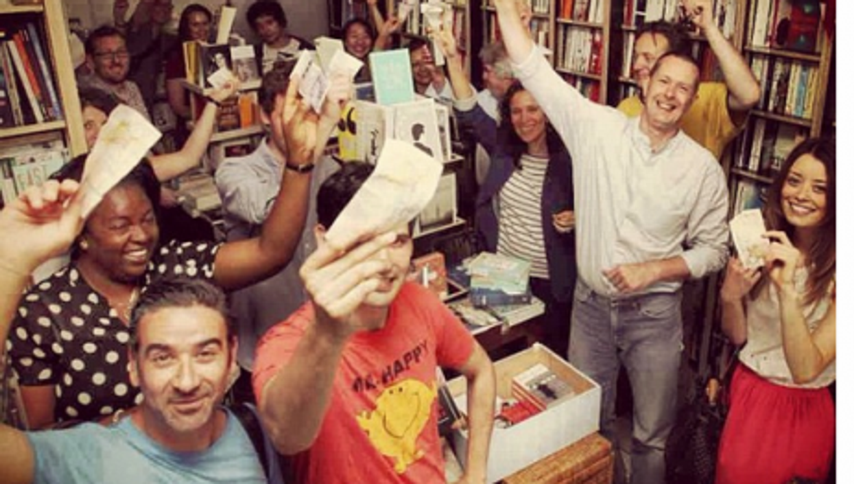 A friendly mob at 'Pages of Hackney' bookstore