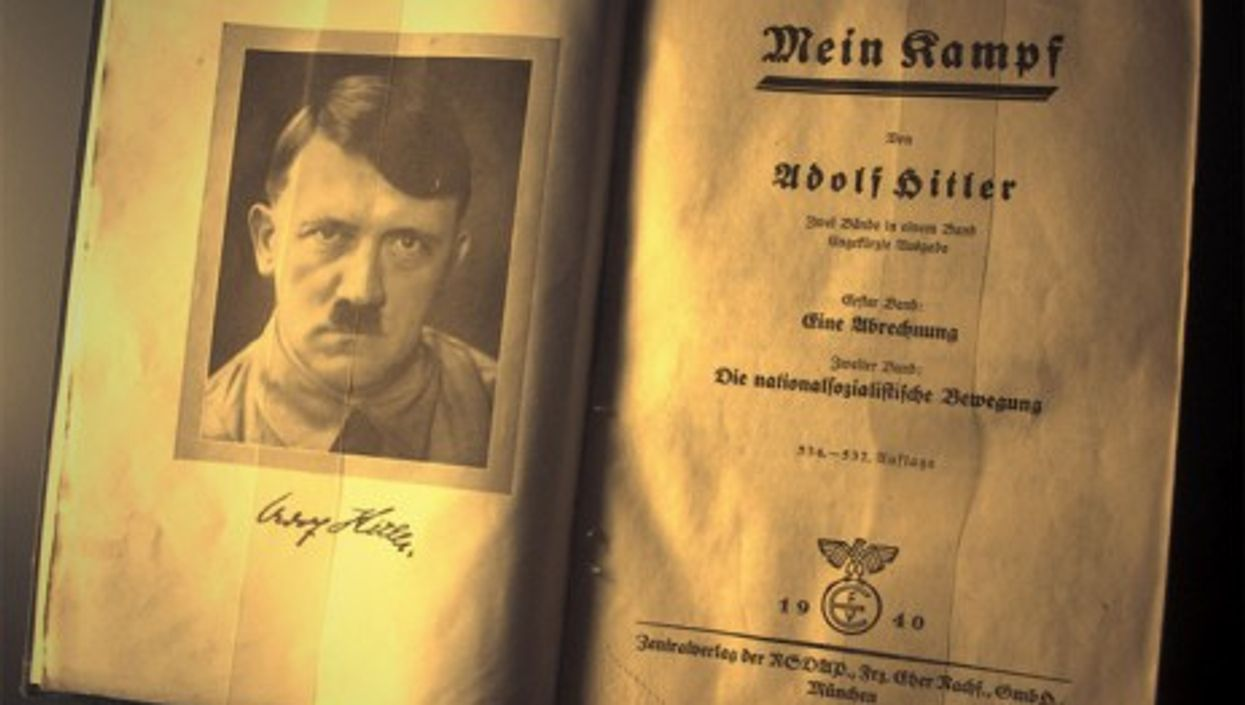 A German edition of Mein Kampf in a Nuremberg museum (dccarbone)