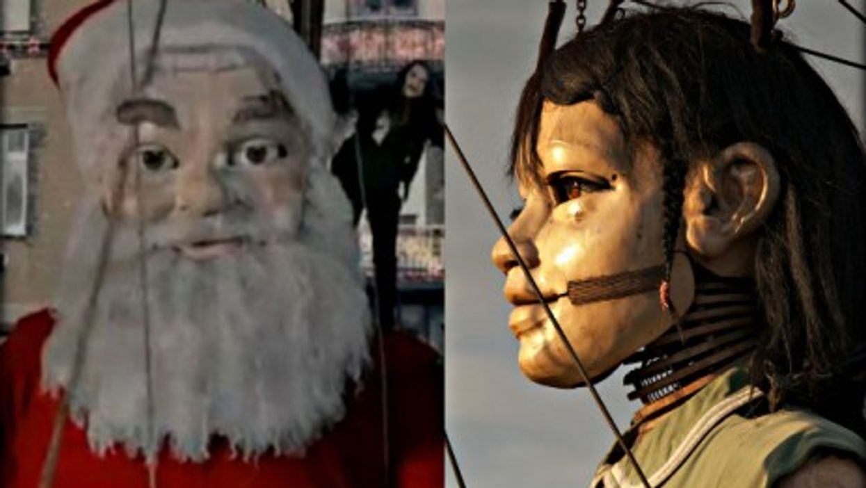 """A giant Santa in Coca-Cola's """"Open Happiness"""" TV ad; and one of the Royal de Luxe giant puppets."""