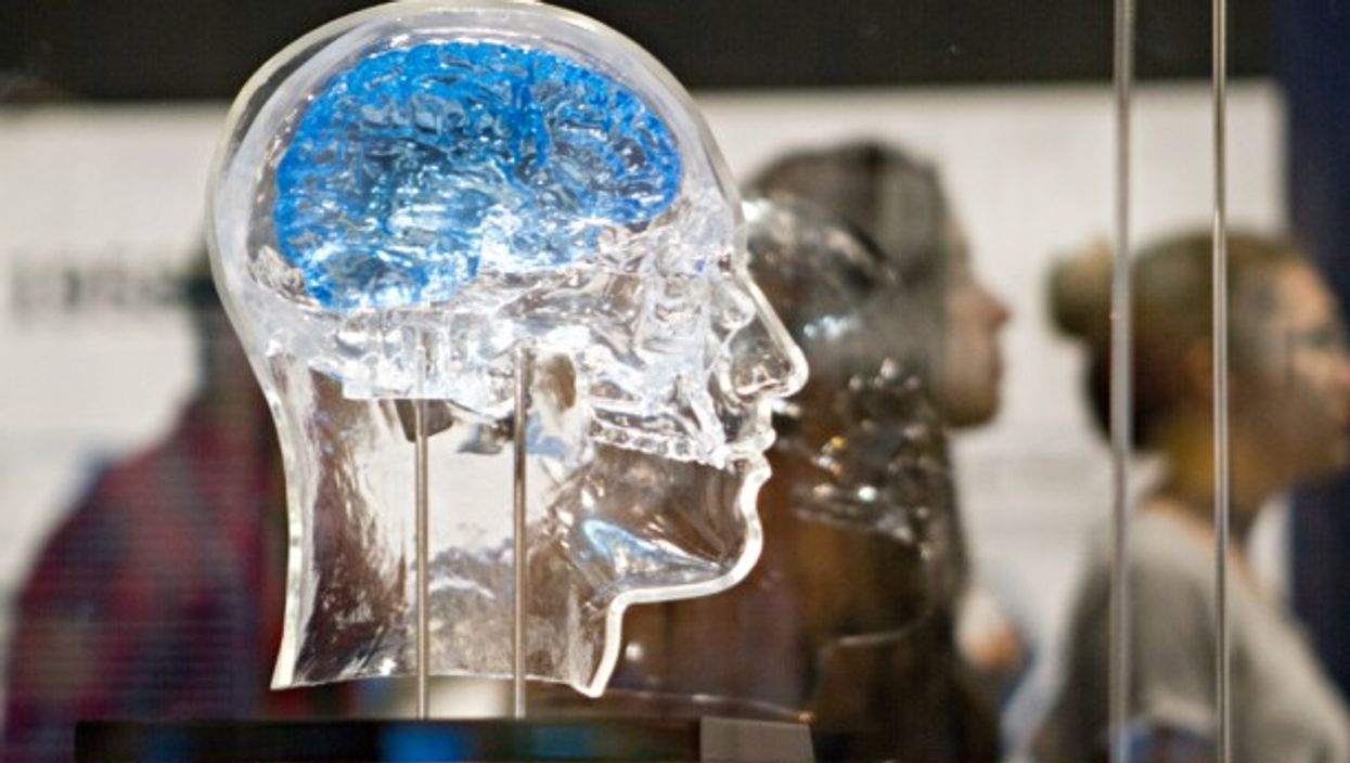 A glass head containing a Neural Interface for Memory Restoration sensor developed by DARPA, which reads signals from the brain, stimulating neurons to combat memory loss.