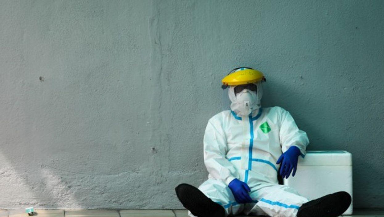 A health worker taking a break