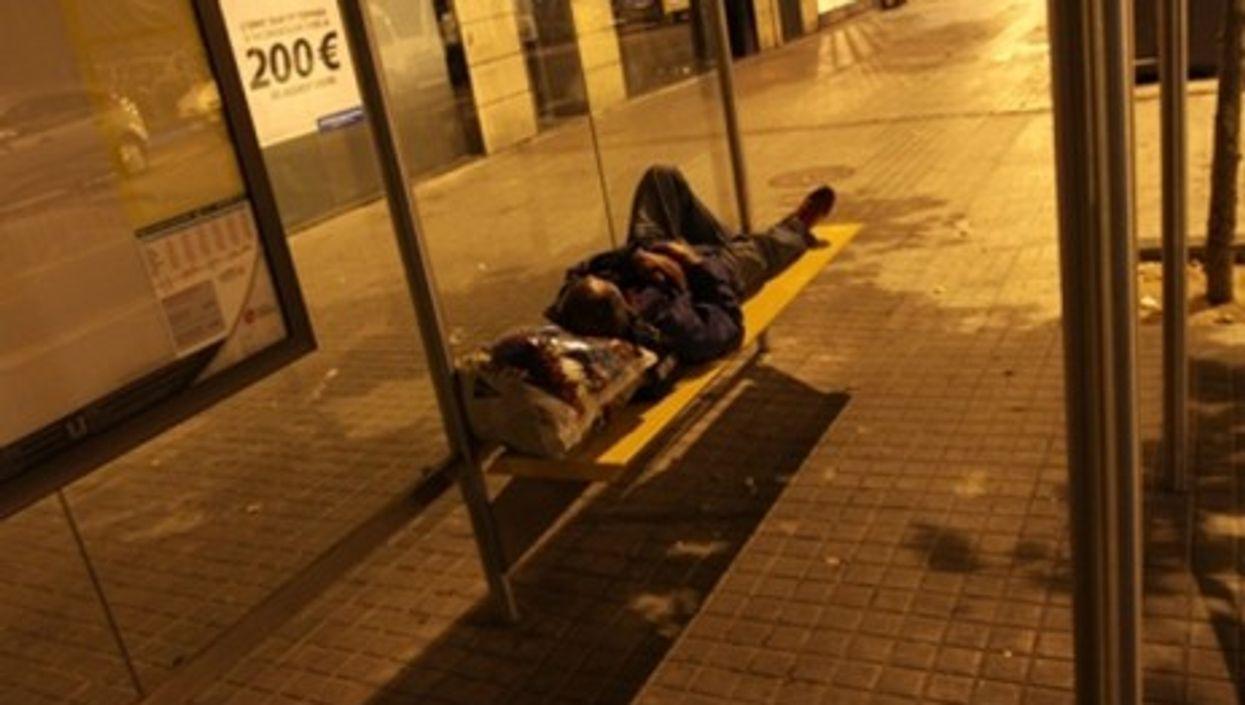 A homeless man in Barcelona, Spain (2009)