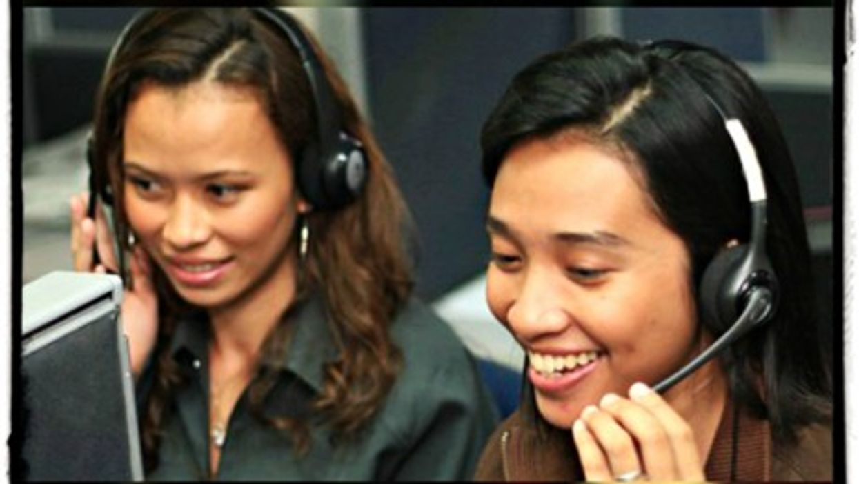 A job at a call center can pay $400 a month in the Philippines