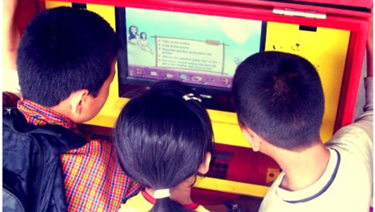 A learning station in Madangir, India