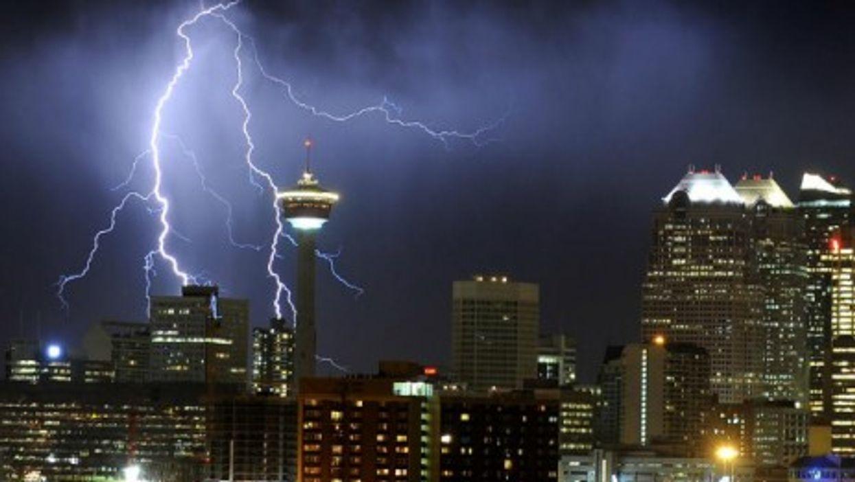 A lightning hits Calgary on Wednesday