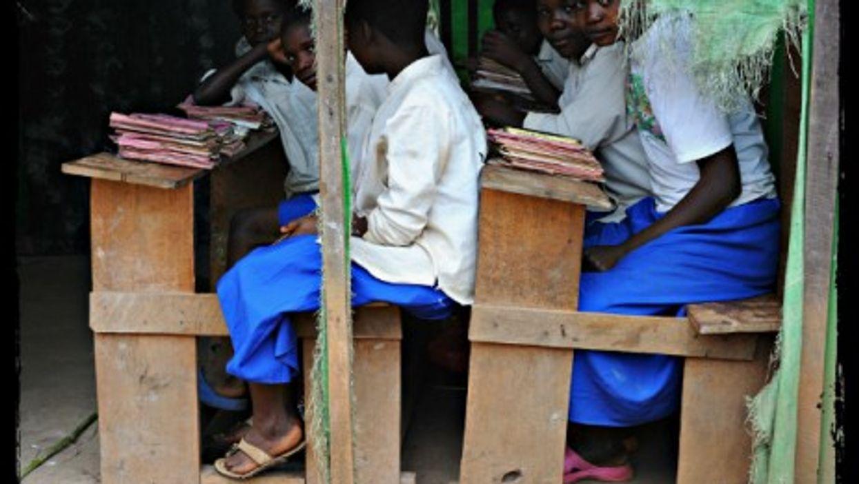 A makeshift -- but genuine -- school in Kpandroma, DRC