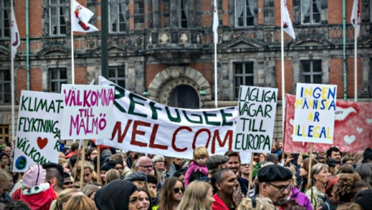 A Malmo demonstration in favor of Sweden's policy of welcoming refugees