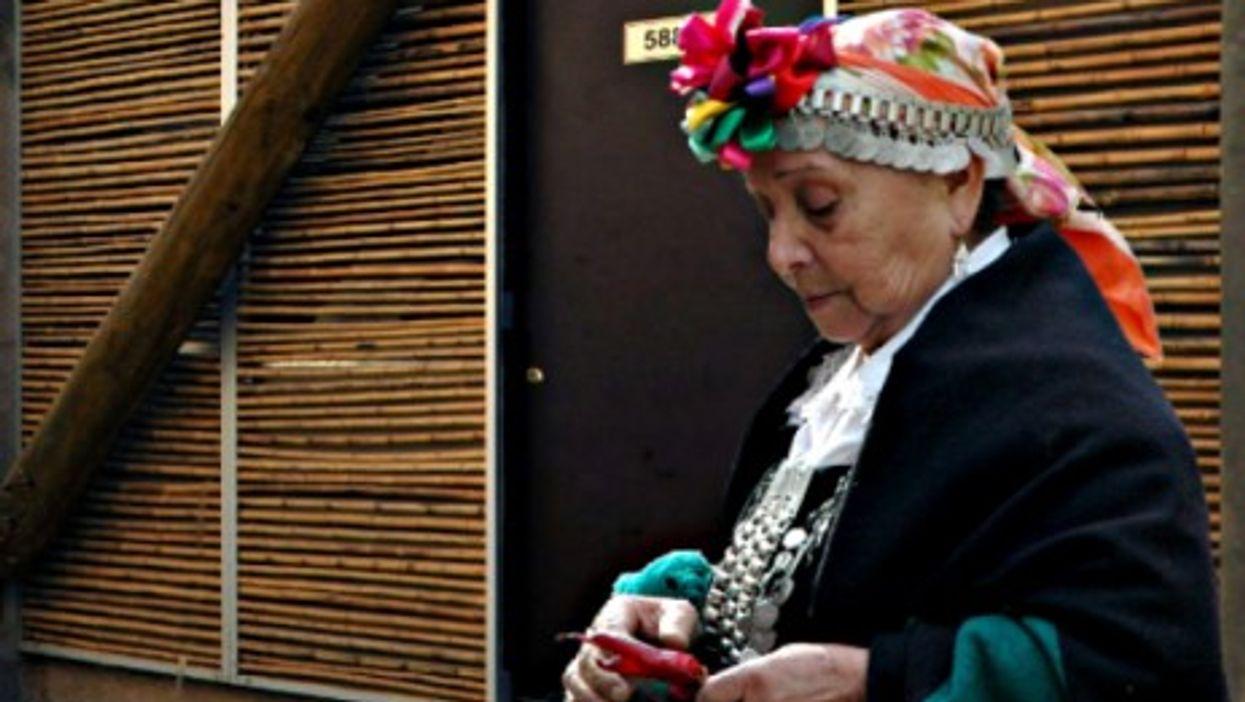 A Mapuche woman near the housing units built by architects from Undurraga Devés in Huechuruba, near Santiago.