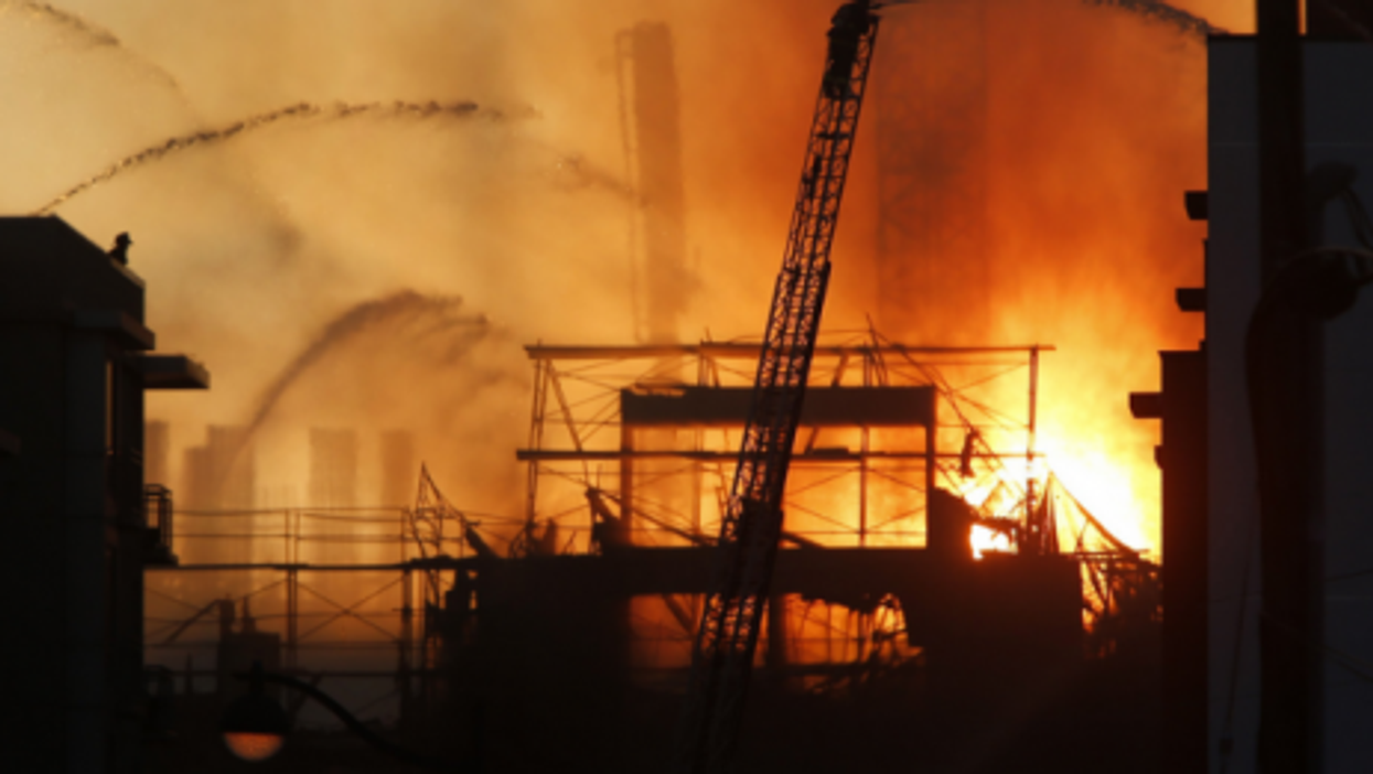 A massive blaze broke into the early hours Wednesday at a residential building under construction in San Francisco.
