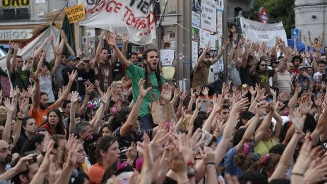 A May 29 indignados protest in Madrid, Spain