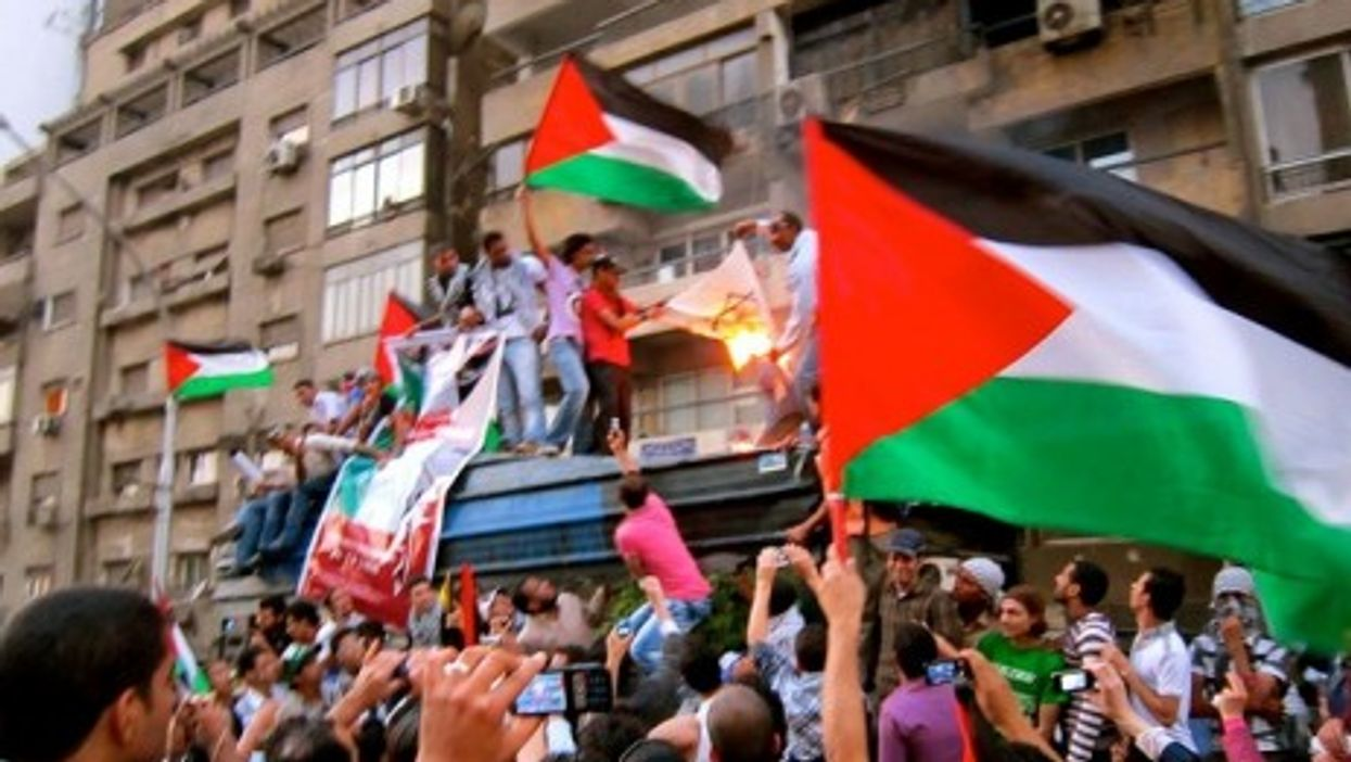 A May protest in front of the Israeli Embassy in Giza, Al Jizah, Egypt