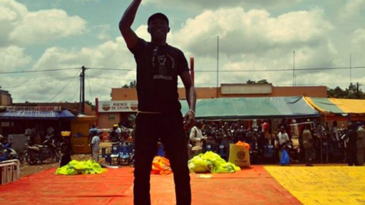 "A member of Burkina Faso's ""Citizen Broom"" group"
