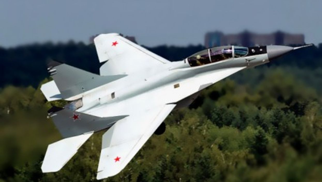 A MiG-29M-2 of the Russian Air Force flying over Ramenskoye Airport in Moscow