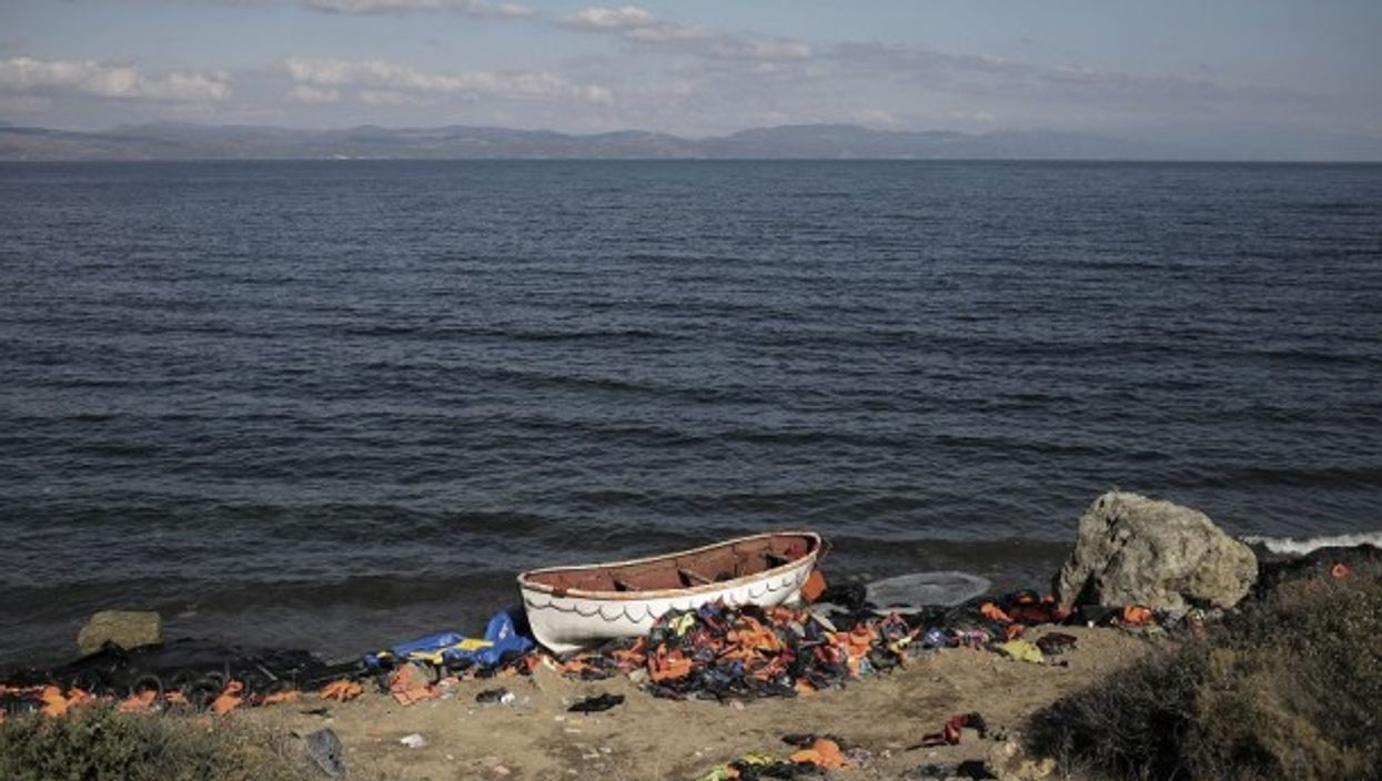 A migrants boat on Lesbos island, Greece