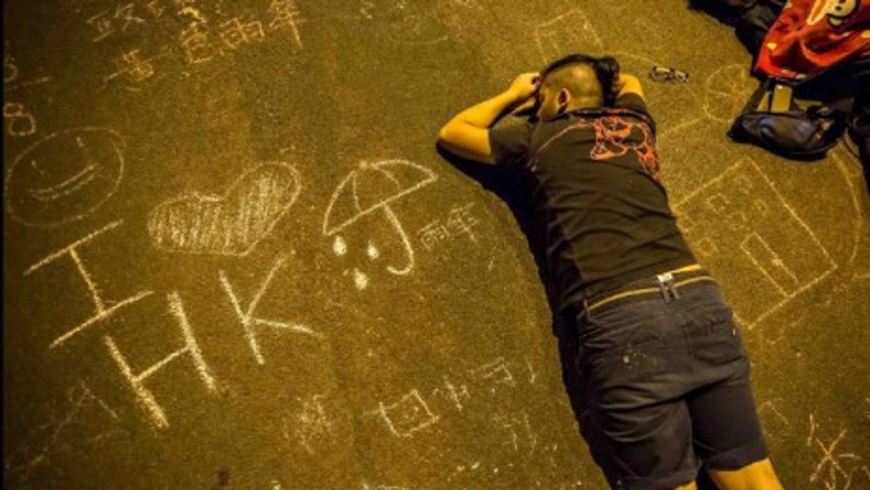 """A moment of rest for Hong Kong's """"Occupy Central"""" protesters"""
