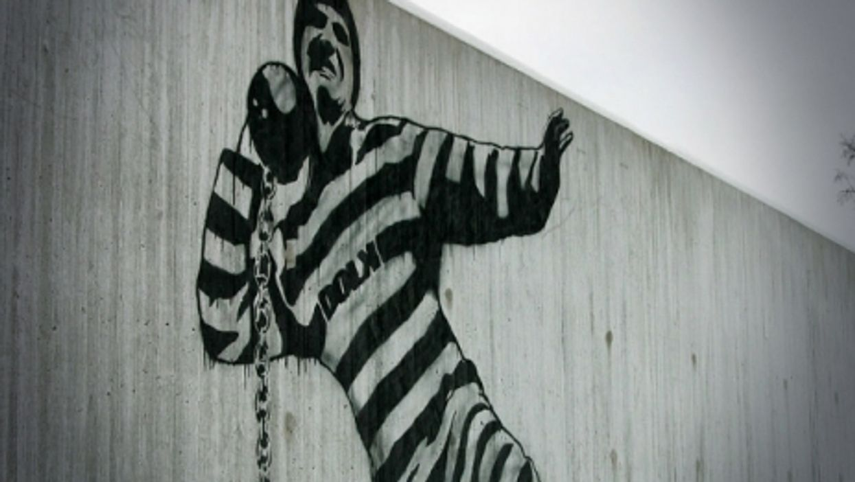 A mural on the wall of Halden prison in Norway