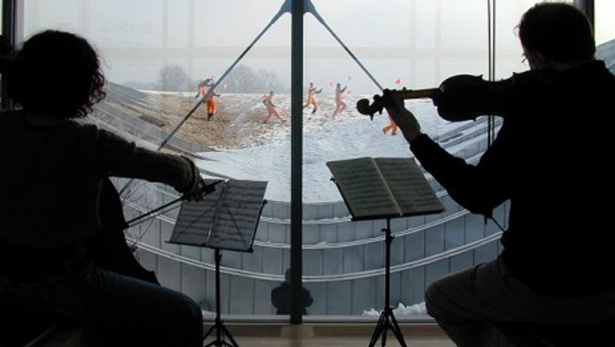 A music and dance performance at the Paul Klee museum in Bern, Switzerland
