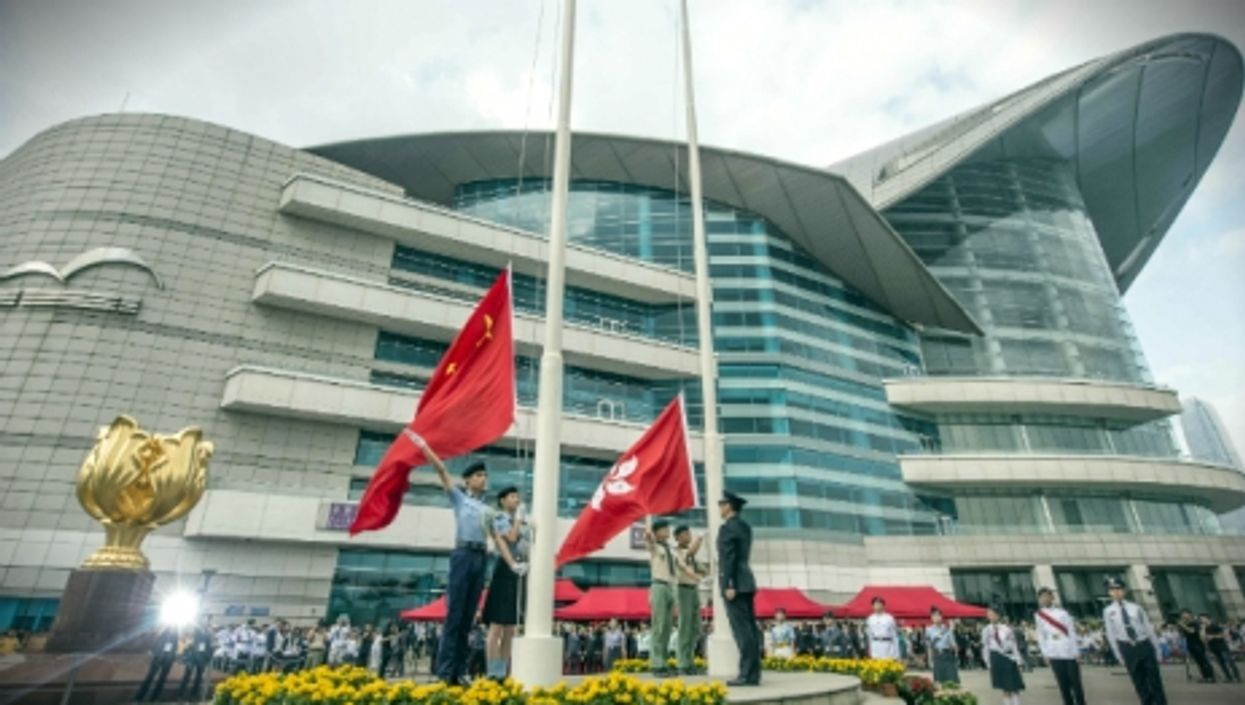 A national flag-raising ceremony is held in Hong Kong, on May 4, 2015.