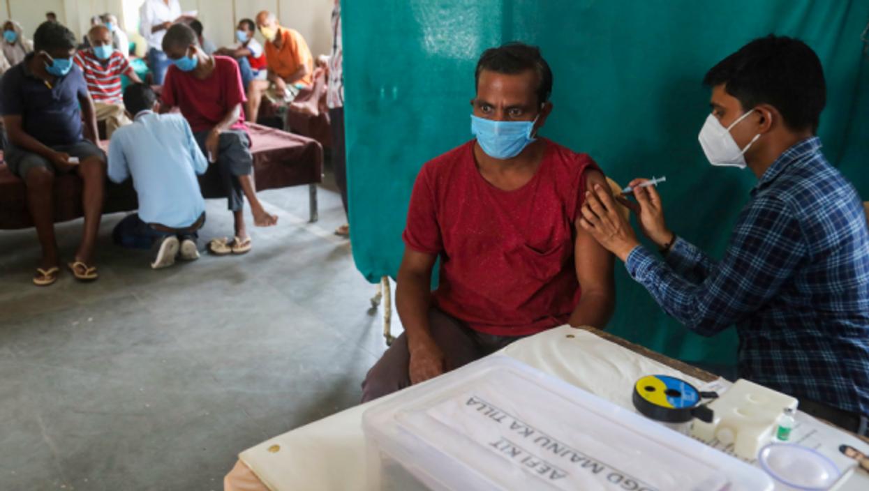 A New Delhi vaccination center on June 25